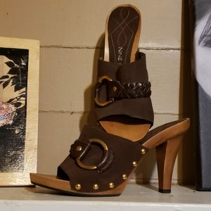 Nine West Wooden and leather Heels